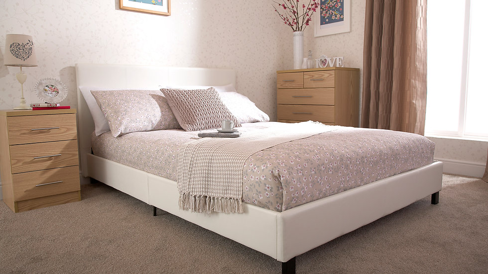 Contemporary White Faux Leather Bed Frame 3ft 4ft 4ft6 5ft All In One Box!