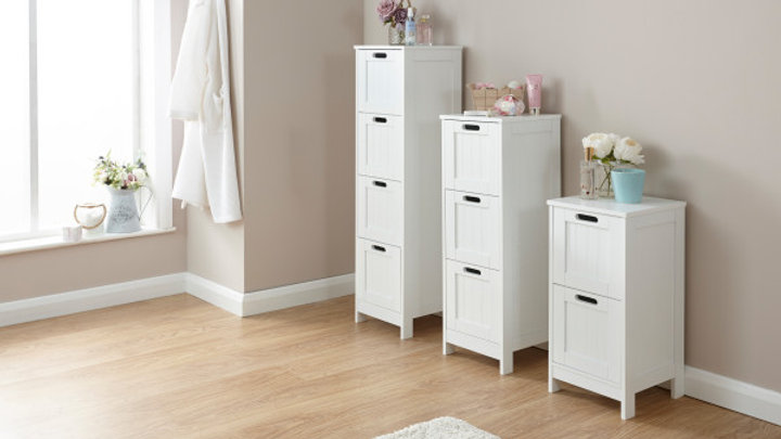 Simplistic Grey or White Wooden 2, 3 or 4 Drawer Chest Bathroom Furniture