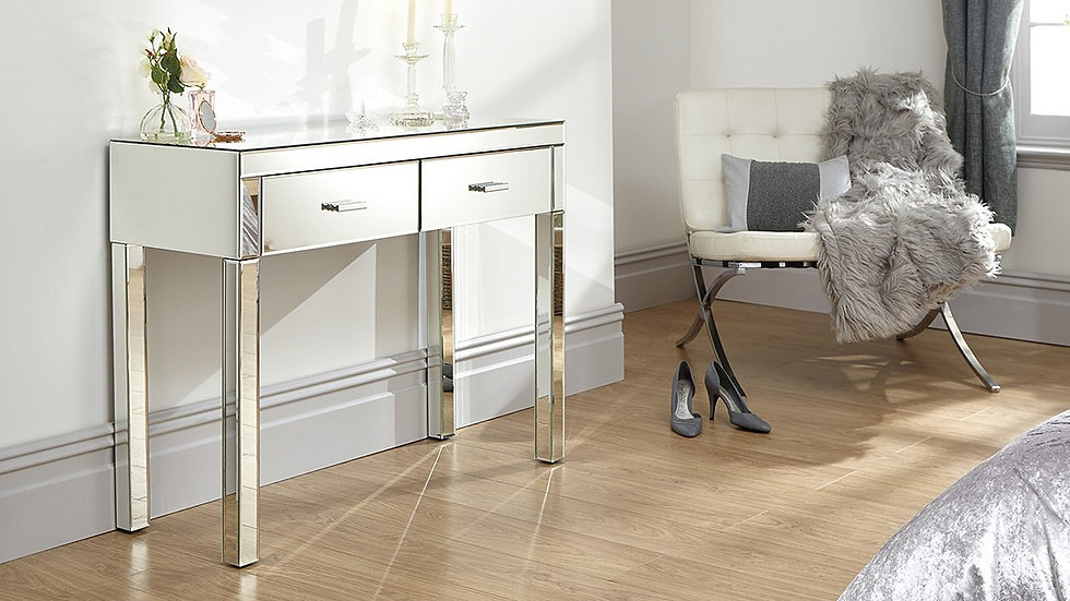 Stunning Mirrored Finished 2 Drawer Dressing Table & Stool Set
