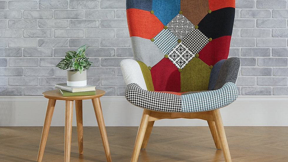 Colourful Upholstered Patched Polyester Armchair