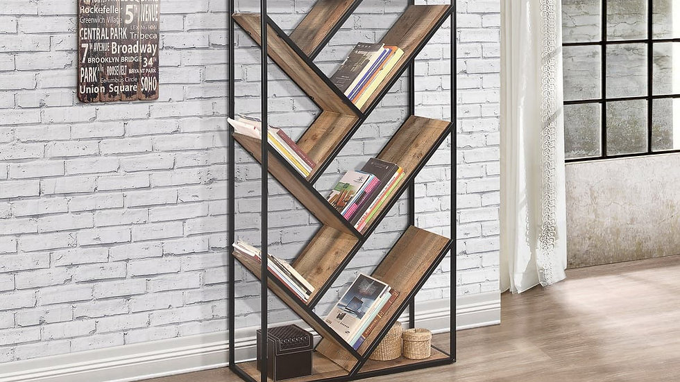 Selection of Unique Industrial Bookcases Diagonal or 3 Tier or 5 Tier Bookcase