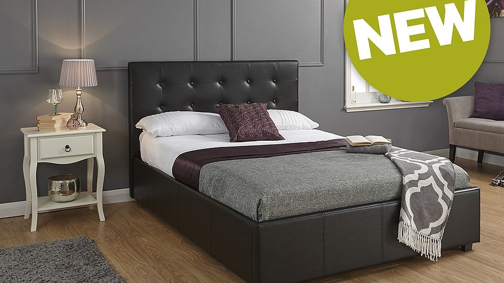 4FT6 Faux Leather Ottoman Storage Bed Frame Deluxe Black Colour