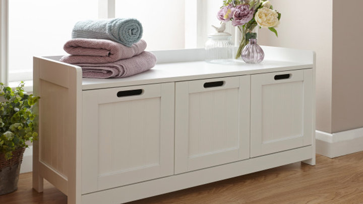 Modern Colonial White or Grey Wooden Bathroom Furniture 3 Door Storage Bench