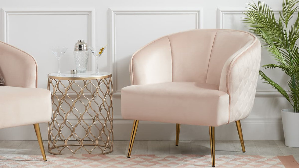 Luxurious Soft Touch Blush Pink Bella Armchair