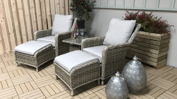 NEW Luxury 5 Piece Lounge Set in Grey Wicker with Pale Grey Cushions