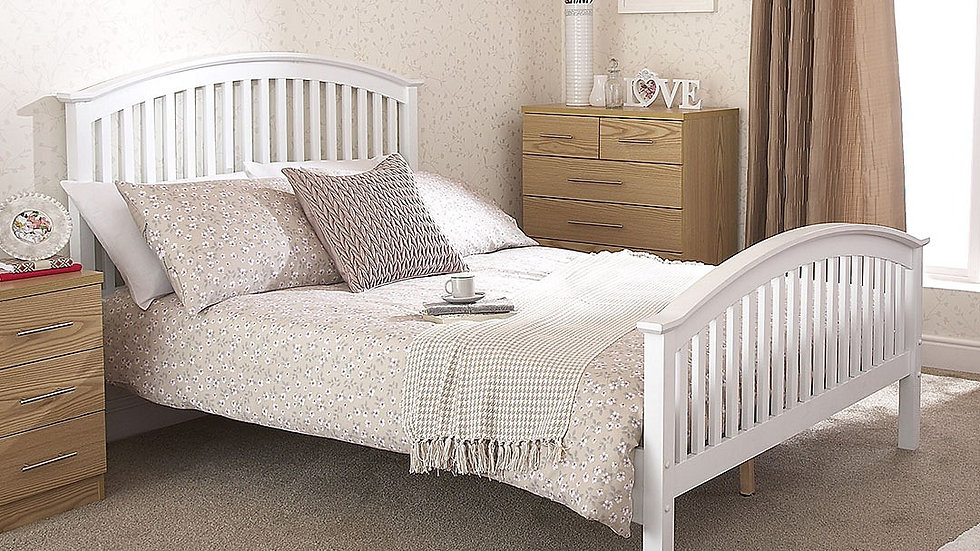 Beautiful 4ft6 Double Curved Slatted Headboard and Footboard Wooden White Bed