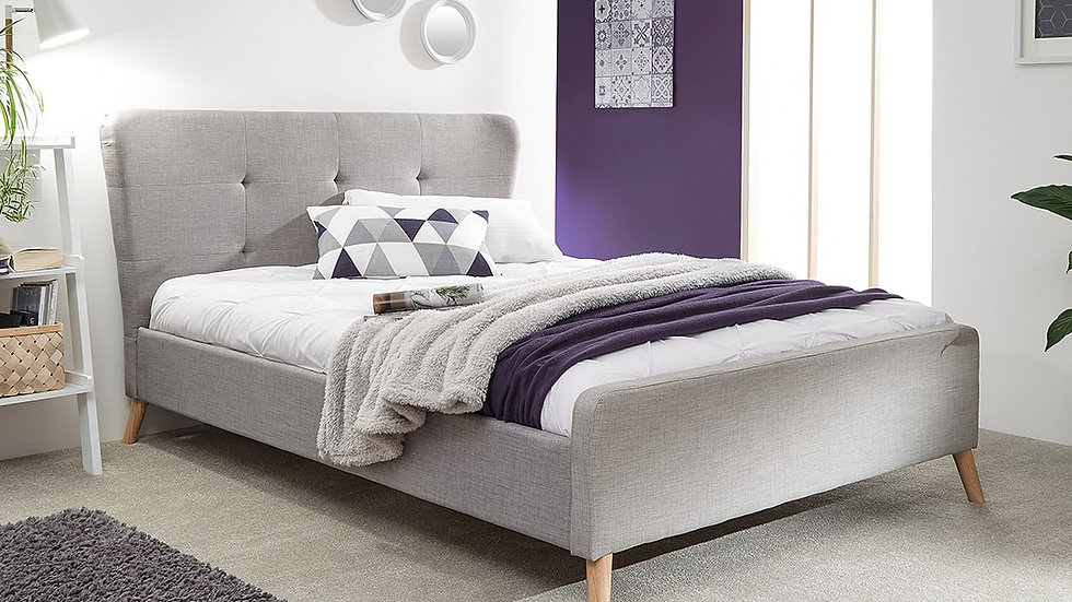 Carnaby Fabric Bed In Grey Or Light Grey Available In 2 Sizes