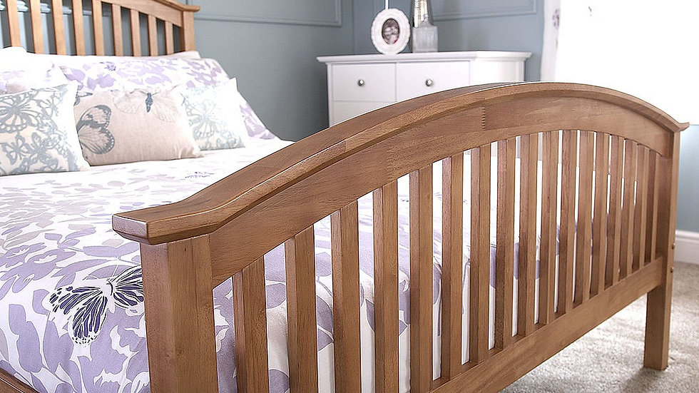 4ft Small Double Curved Slatted Headboard and Footboard Wooden Oak Colour Bed