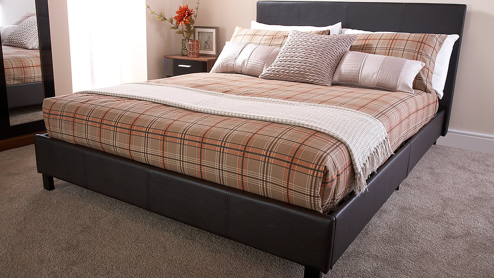 4ft Bed In A Box Brown Faux Leather Bed Frame