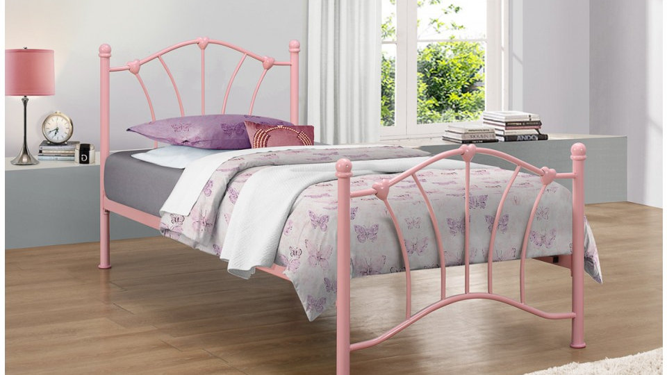 Sophia Childrens Bed With Beautiful Heart Castings 3ft Colour/Mattress Option