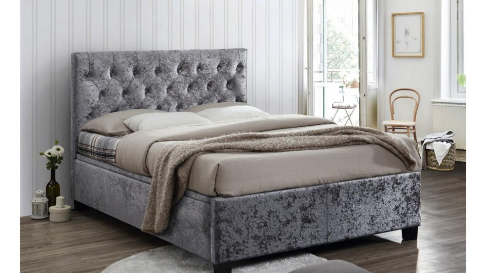 Cologne Fabulous Contemporary Ottoman Bed Frame In Steel Crushed Velvet 4ft6 5ft