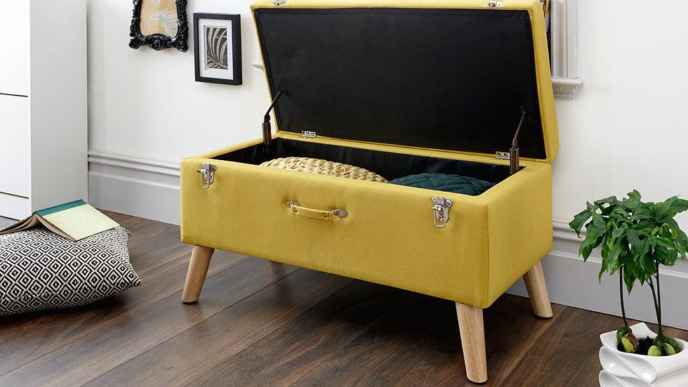 NEW Unique Stylish Fabric Storage Ottoman Box in Grey, Mustard or Charcoal Grey