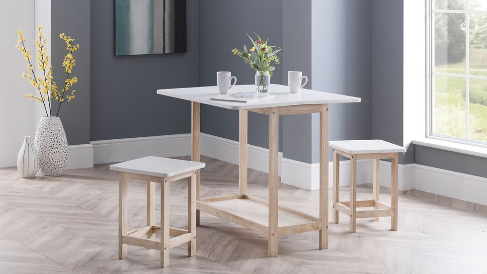Country Style Foldaway Dining Table Two Stools Home Bar Set
