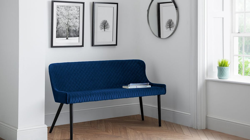 Luxe High Back Bench Upholstered In Luxurious Blue Velvet Fabric
