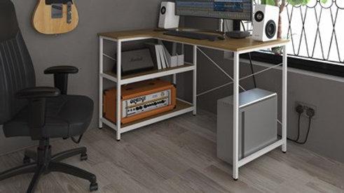 Smart Industrial Corner Desk Integrated Shelves Oak-Effect Table Top White