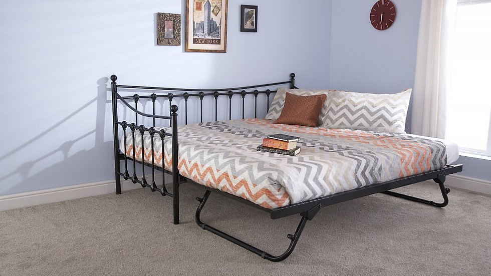Elegant and Stylish Memphis Day Bed & Trundle available in Black & Ivory