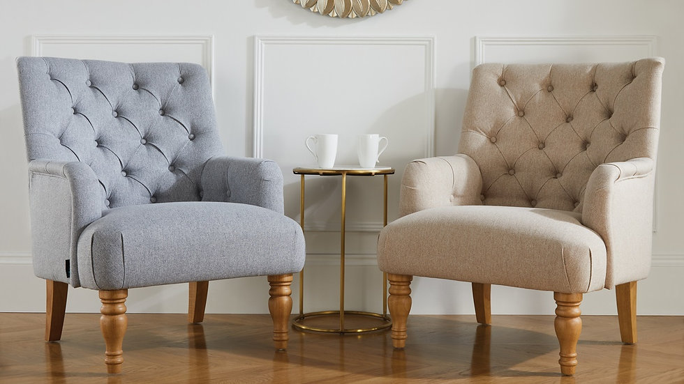 New Elegant Button Back Armchair available in Grey or Wheat
