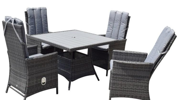 NEW Luxury Pair of Reclining Dining Chairs in Grey Wicker