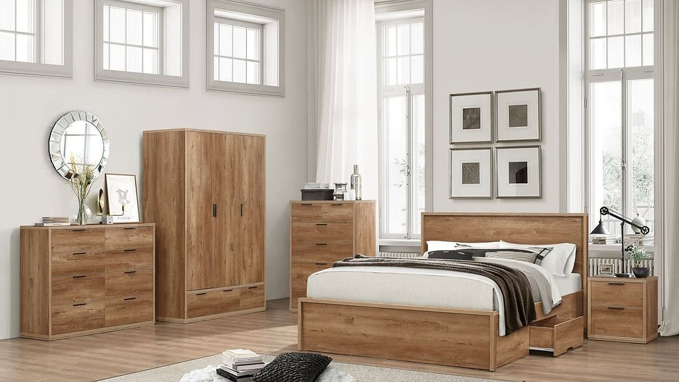 Traditional Rustic Oak Farmhouse Feel Stockwell Bed in 4FT Small Double
