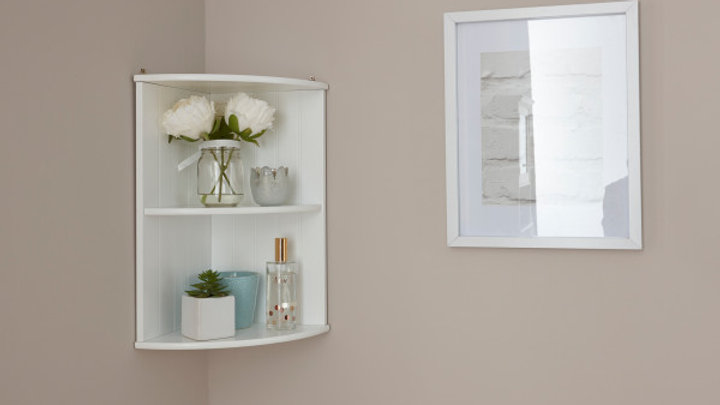 Modern Shaker Style Wooden White or Grey Corner Wall Shelf Unit