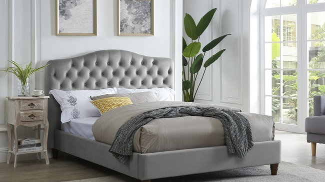 Luxurious Sorrento Buttoned Chenille Fabric Bedstead In Cappuccino Grey Or Pink