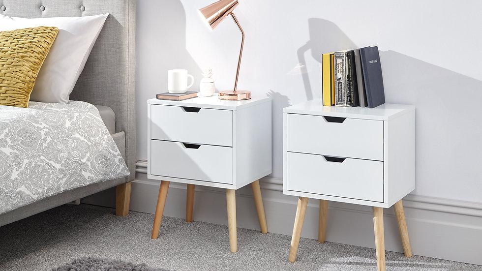 Elegant Wooden 2 Drawer Bedside Table in Dark Grey, Light Grey, White & Yellow