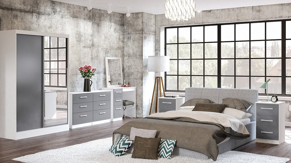 New Sleek Modern Lynx Bedroom Furniture Range In White & Grey High Gloss
