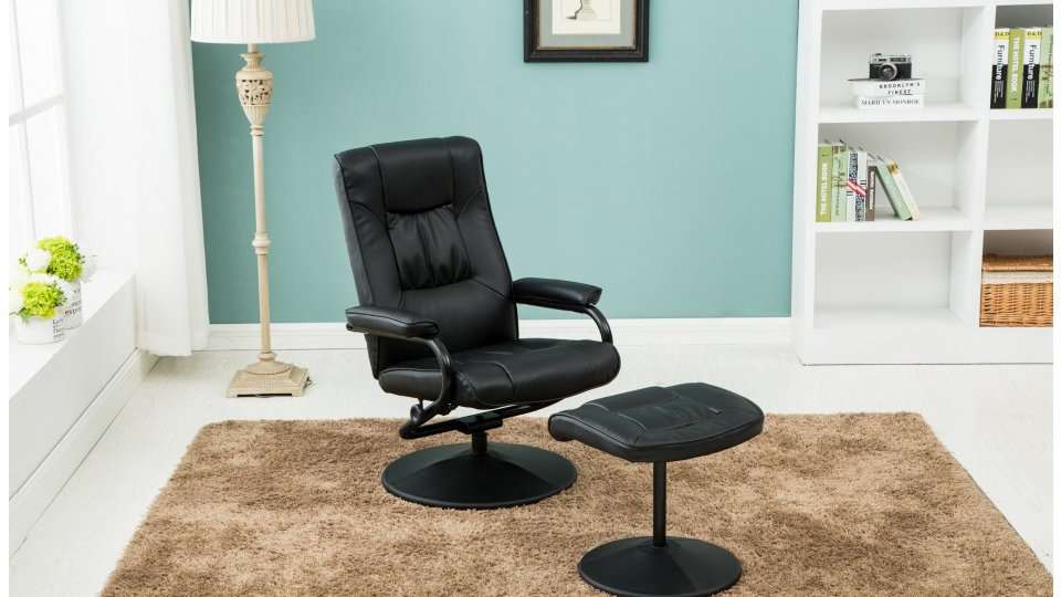 Memphis Faux Leather Swivel Chair with Matching Footstool