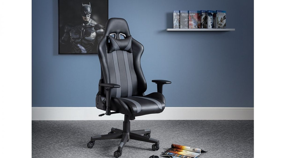 New Black Faux Leather Gaming Chair Fully Adjustable Arm Rest Head Pillow