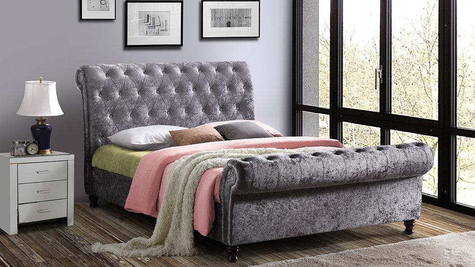 Modern Castello Bed In Steel Crushed Velvet 6ft Super King