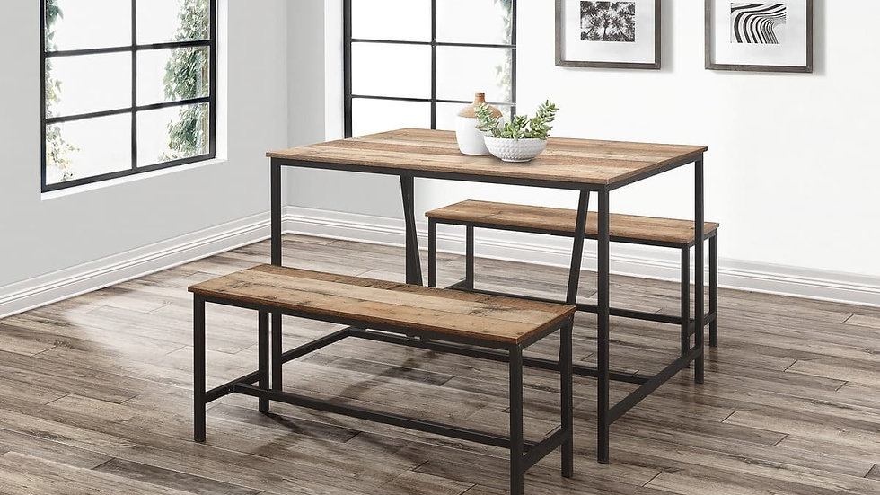 Industrial Dining Set Table and Two Benches Wood-Effect Metal Frame
