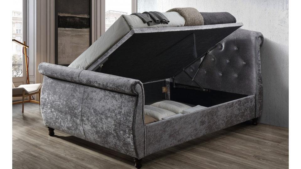 Castello Steel Coloured Sleigh 4FT6 5FT 6FT Ottoman Side Lift Bed Crushed Velvet