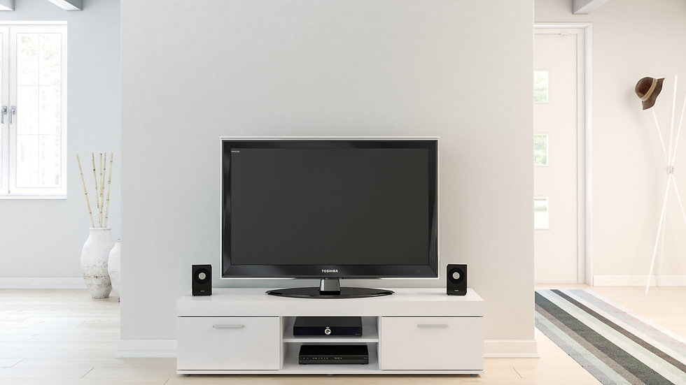 New Contemporary Highly Practical High Gloss White or Black TV Unit