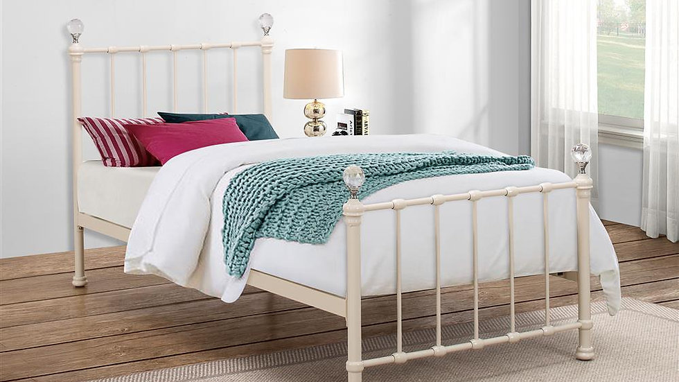 Modern Children's Jessica Metal Bed Frame with Crystal Finials Cream Or Pink