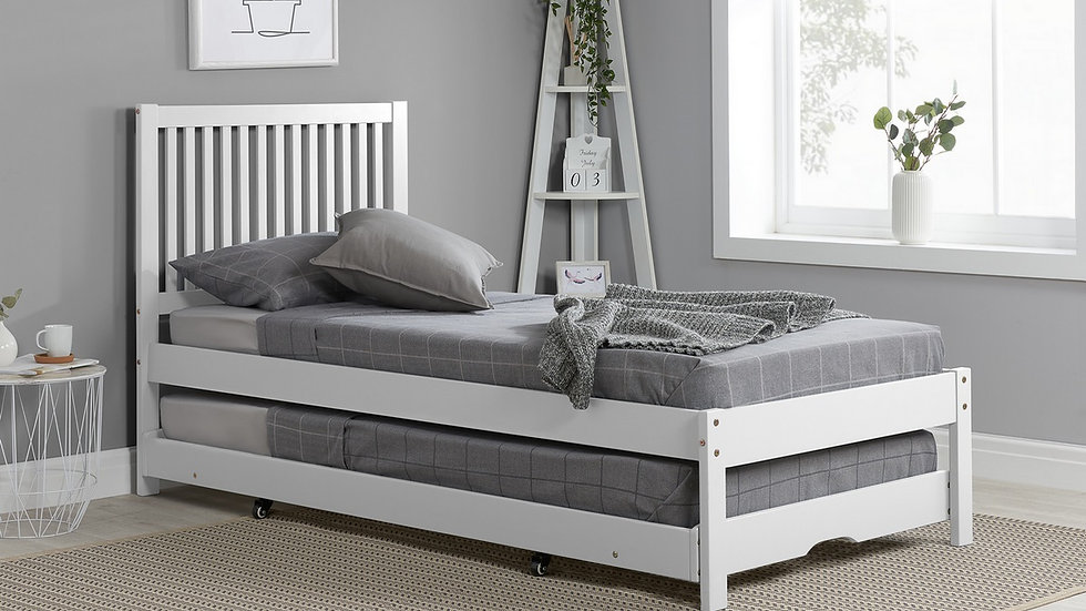 3ft Single Slatted Wooden Guest Bed in White Wheeled Pull Out Trundle Mattresses