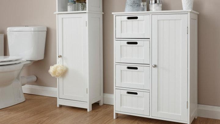 Elegant White Or Grey Wooden Shaker Style Free-Standing 4 Drawer 1 Door Unit