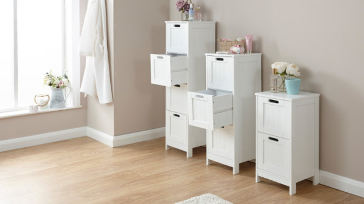 Groove Effect White Painted Slim Chest Drawer Storage 2, 3 or 4 Drawers