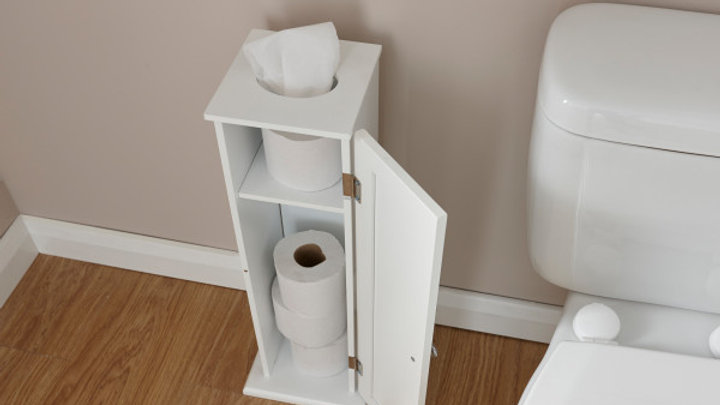 Simplistic Painted Toilet Roll Cupboard Holder Dispenser in White or Grey Colour