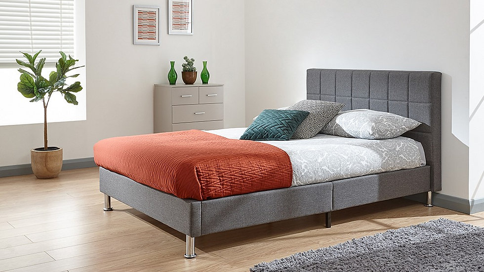 New Fresno Charming Grey Fabric Bed In A Box Contemporary Frame