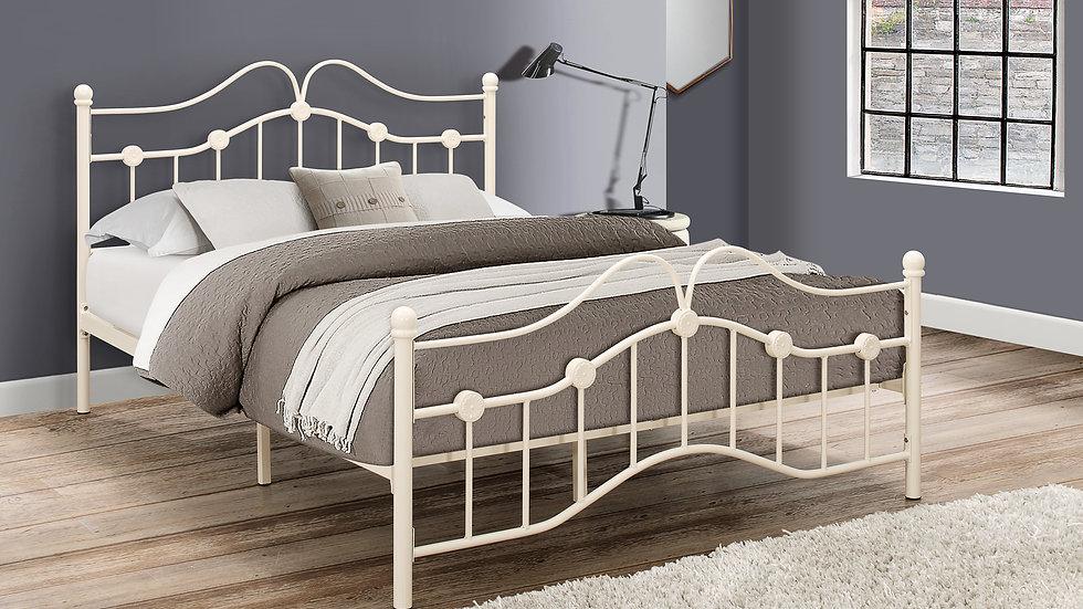 Traditional Victorian Inspired Metal Bedframe Cream 3ft 4ft 4ft6 Mattress Option
