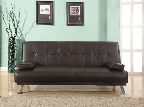 Faux Leather Fold Down Sofa Bed Black or Brown