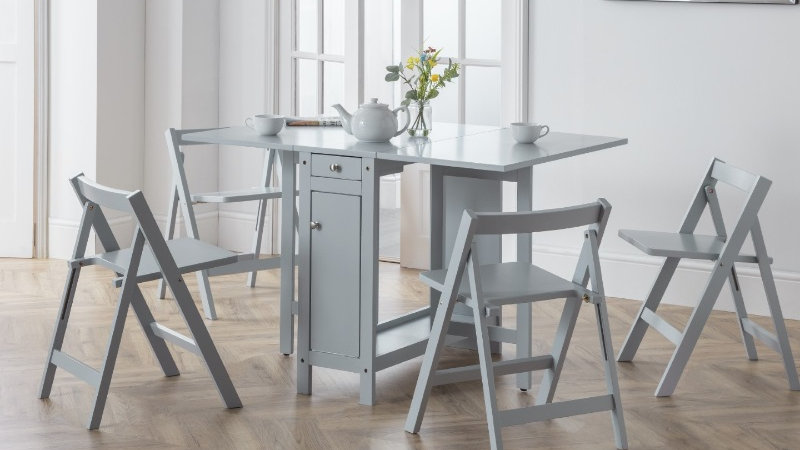 Savoy Self Storing Dining Set available in Light Grey,Light Oak or White/Natural