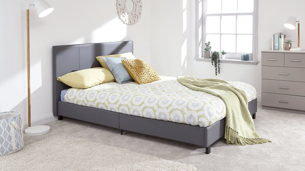 Faux Leather Grey Bed Frame 3ft 4ft 4ft6 5ft