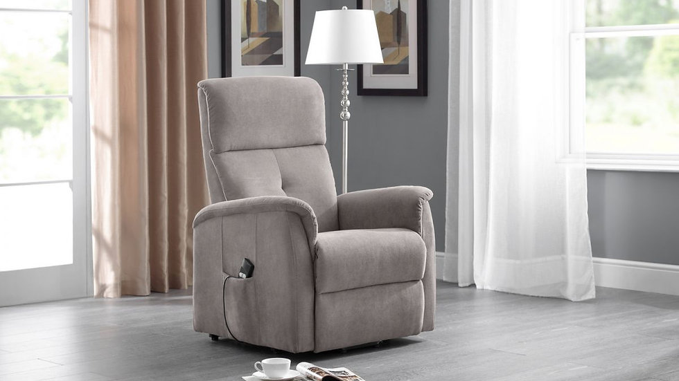 Compact Durable Rise and Recline Motorised Chair Taupe Chenille Fabric Upholster