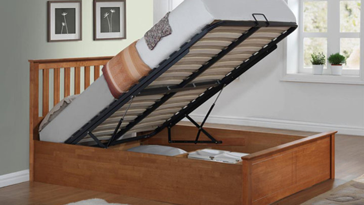 Terrific Wooden Ottoman Storage Bed Available In White Or Oak Lamtechconsult Wood Chair Design Ideas Lamtechconsultcom