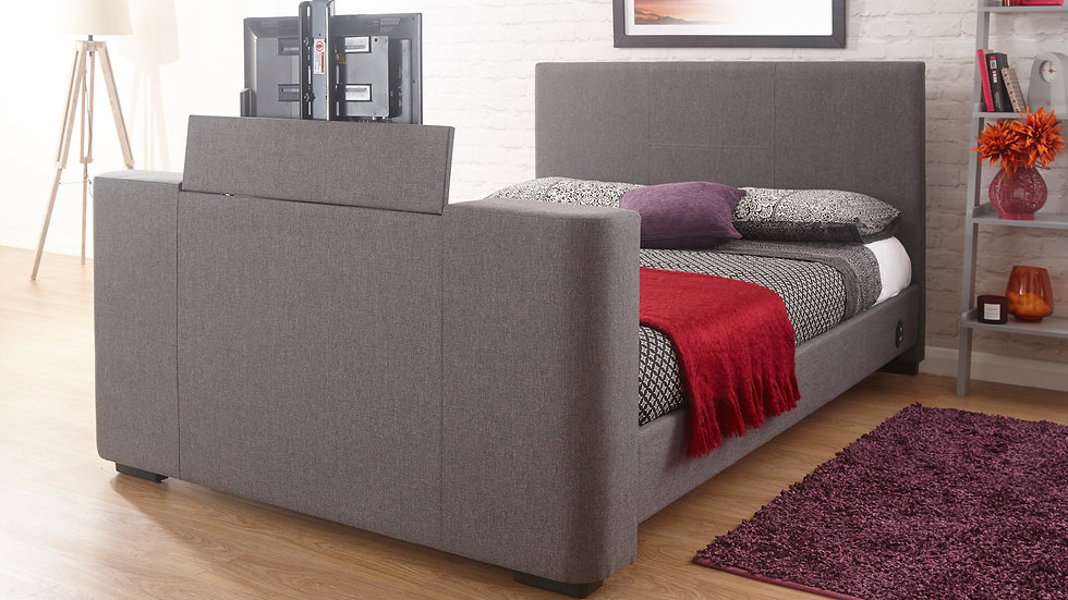 ON SALE NOW Modern Newark TV Bed Grey Fabric 4FT6 Double + 5FT King Size