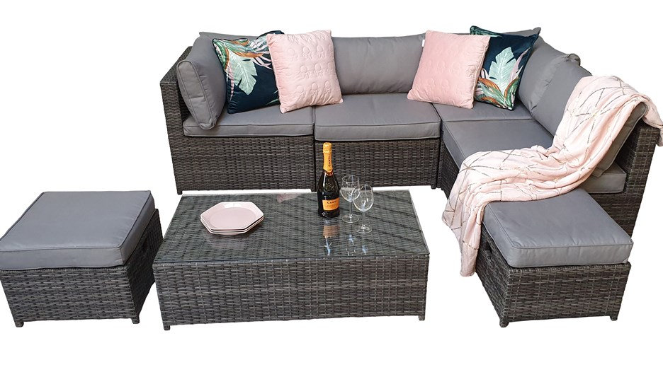 Luxury Modular Sofa With Storage Inside Arms Grey Weave Rattan Includes Cushions