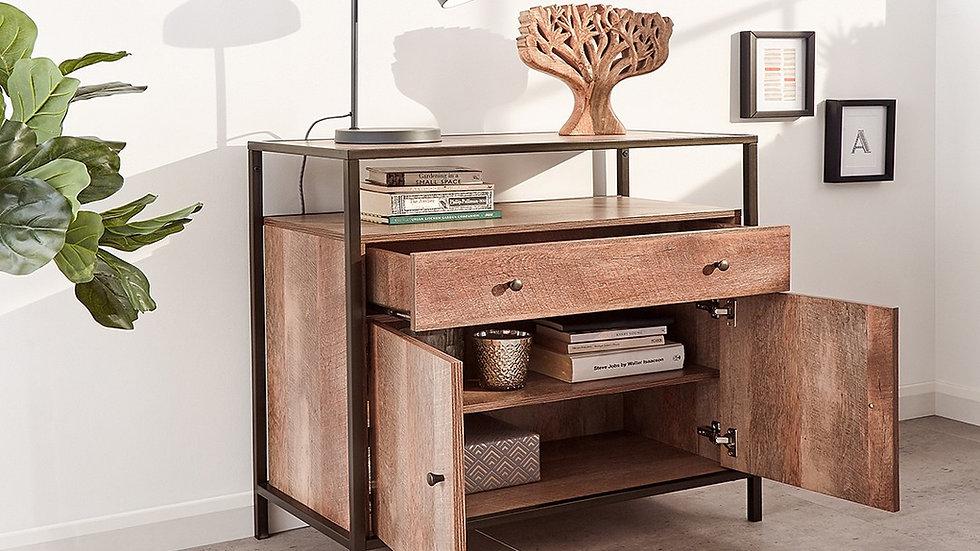 Mango-wood Inspired Range Bronze Effect Metal Frame Industrial Living Room Set