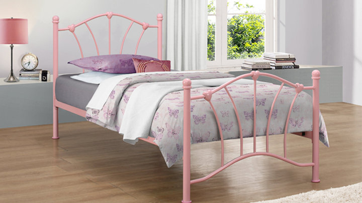 Sweet 3ft Metal Heart Frame Children's Bed in Pink With Optional Sprung Mattress