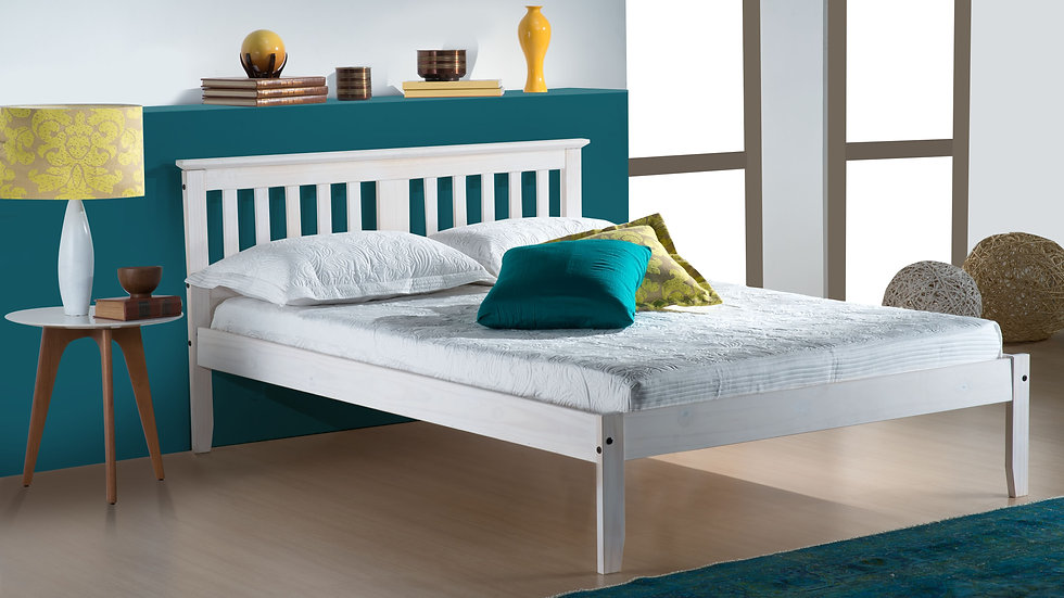 New Stylish Rustic Salvador Pine Bed Frame in a White Washed or Pine Finish